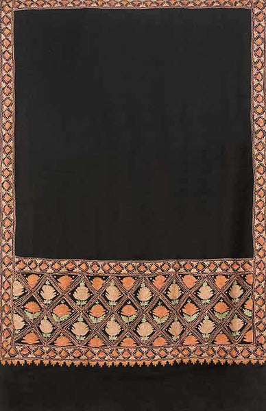 Black kashmiri shawl from India