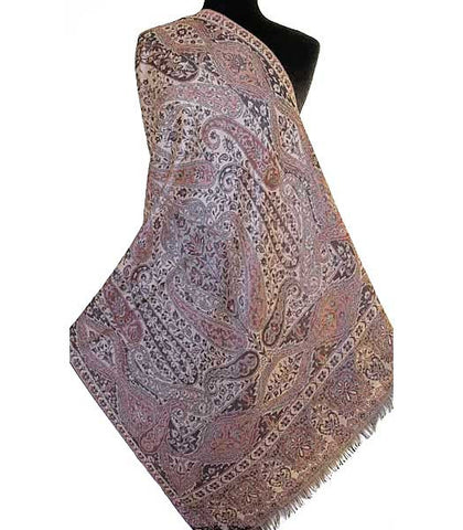 Dark brown, reversible jamavar shawl.