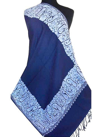 Blue embroidered shawl from India