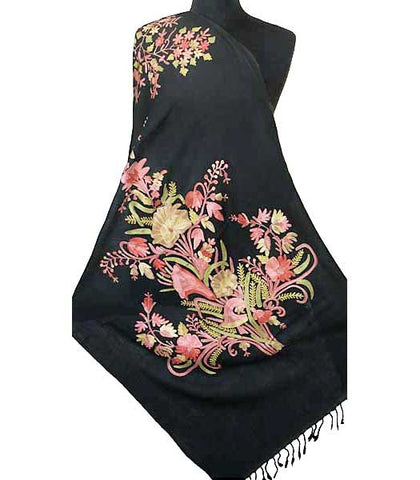 Black shawl embroidered with colorful flowers