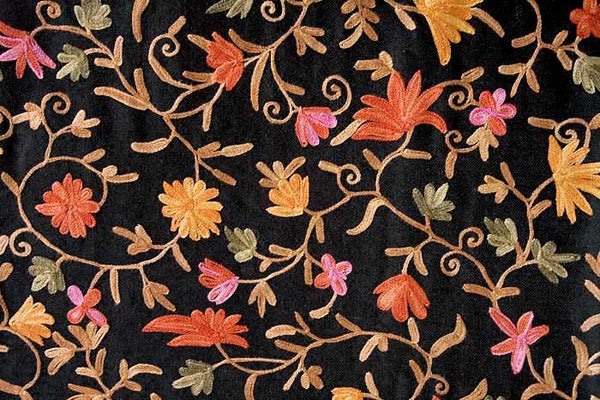 red, peach, persimmon, tan, dark olive and pink embroidery
