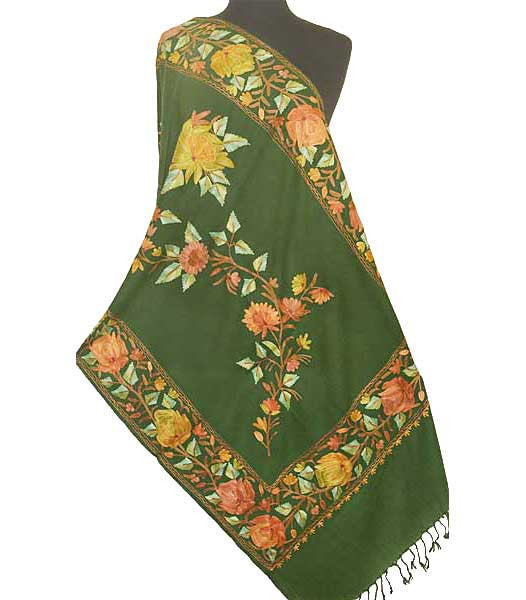 Red, peach, green, gold and cinnamon embroidered on green wool.