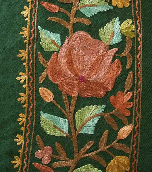 Red and peach embroidery