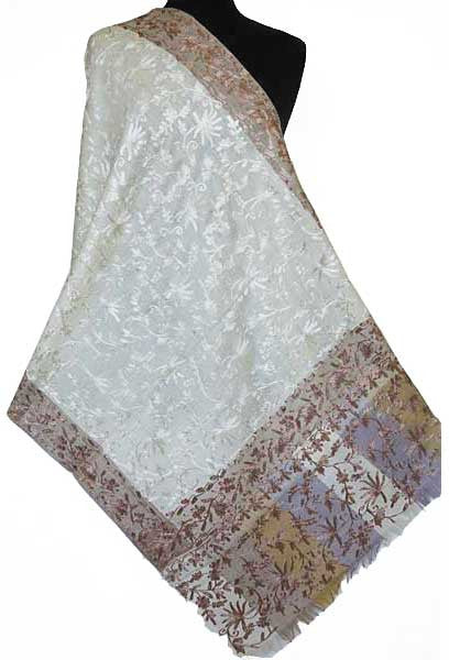 Ivory Embroidered Indian Wrap