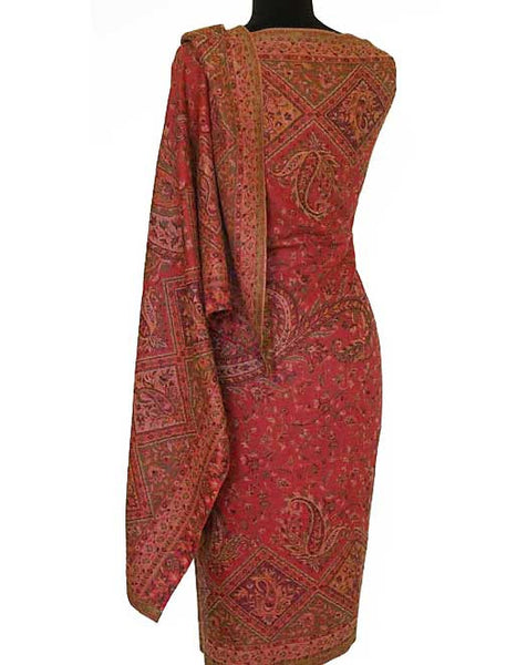 Red Kani woolen shawl from India