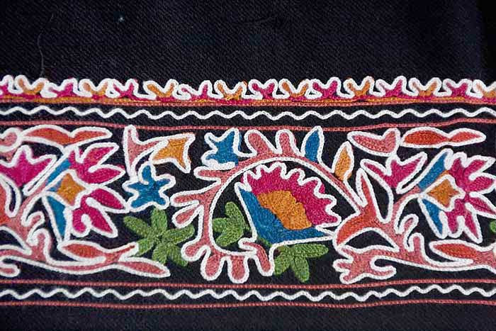 Large Black Embroidered Throw