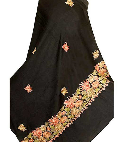 Large Embroidered Wool Shawl
