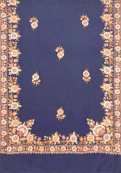 Large Navy Embroidered Wrap