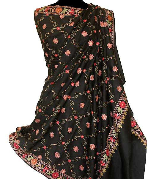 Large black wool shawl embroidered with small red flowers