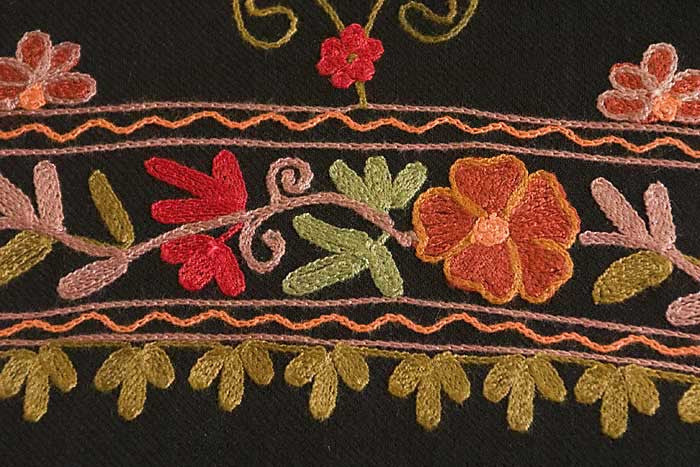 Crewel embroidered black shawl