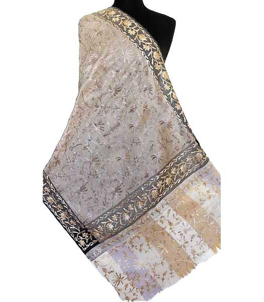 Light Brown Embroidered Shawl