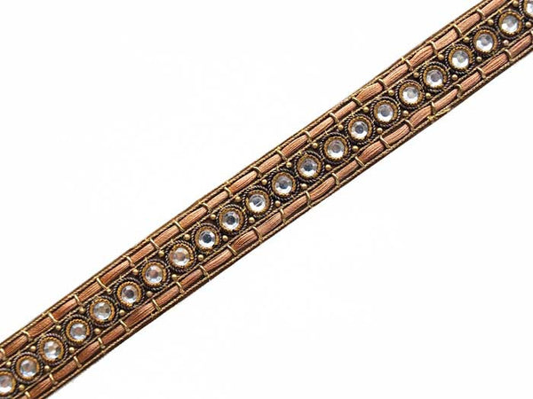 narrow bronze beaded sewing trim