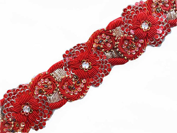 Bright red hand beaded sewing trim