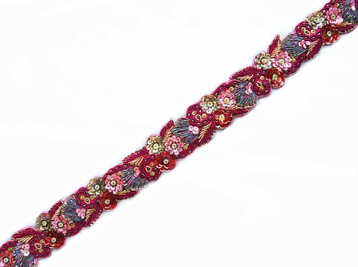 beaded sewing trim in pink, red and gold