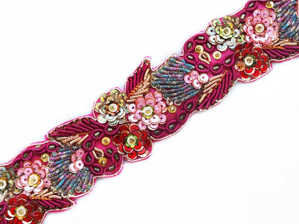 Deep pink hand beaded sewing trim