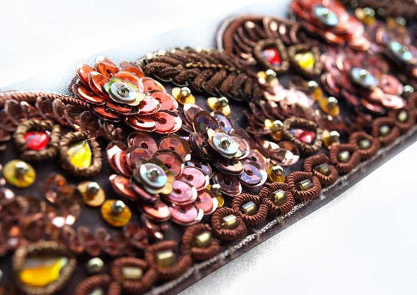 Copper, dark persimmon, gold and peach hand beaded sewing trim