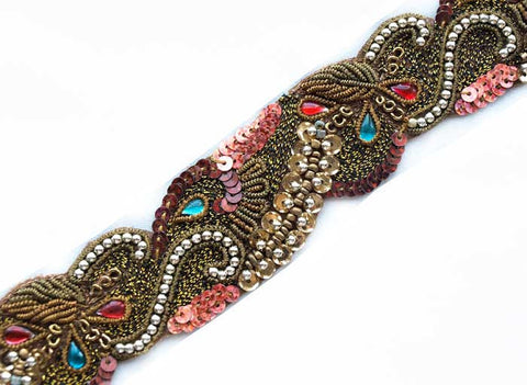 Brown and Coral hand Beaded sewing trim