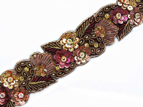 chocolate and raspberry hand beaded sewing trim