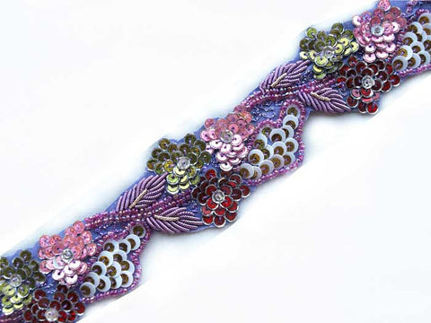 Lavender hand beaded sewing trim from India