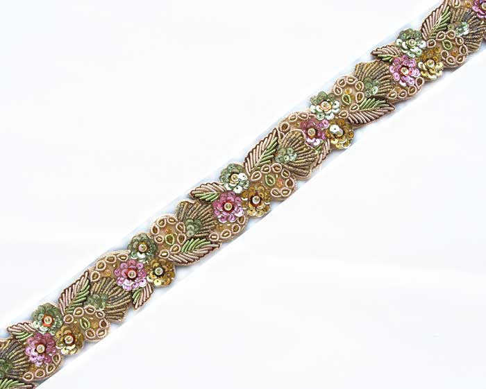 light gold hand beaded sewing trim from India