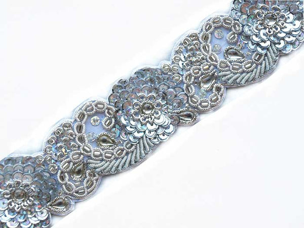 beautiful silver bullion & sequins hand beaded sewing trim