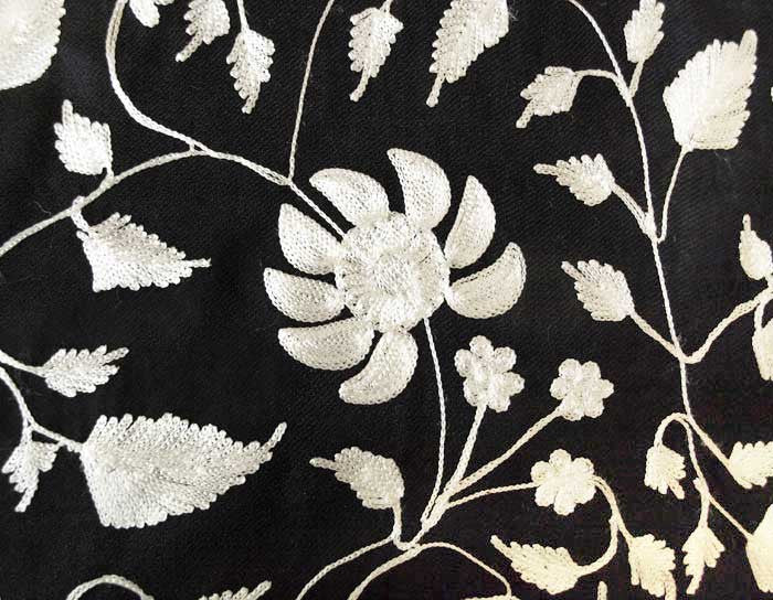 White Embroidery on Black Shawl