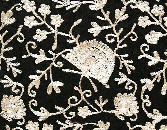 White on Black Embroidered Shawl