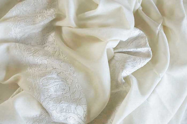 Winter White Embroidered Shawl