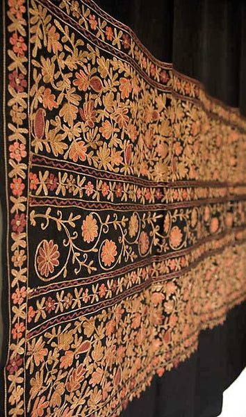 Indian embroidery on black wool