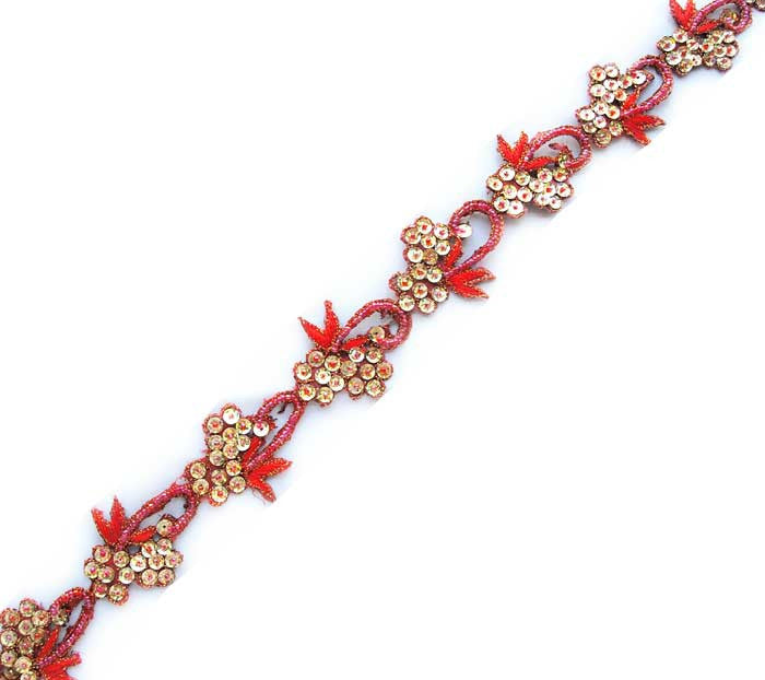 red & gold hand beaded sewing trim