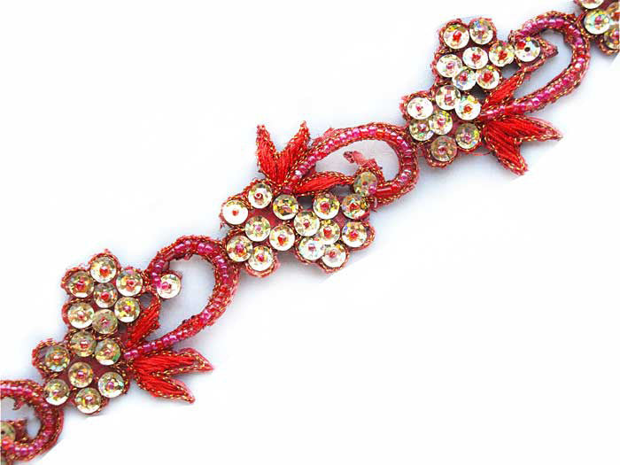 red beaded sewing trim