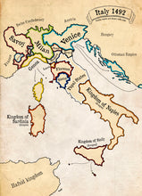 Map of Italy in 1492.