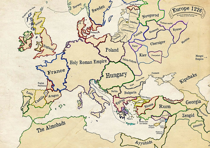 Poster of historical map of Europe. Map of europe in 1226. Map of Europe in the 13th century.