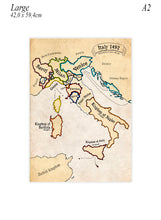 Large poster of Italy in 1492