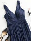 Deep V Neck Long Chiffon Evening Prom Dresses Ep07465-Navy Blue 2