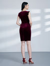 Women Fashion Velvet Vneck Cocktail Dresses Wear To Work As04099-Burgundy 2
