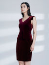 Women Fashion Velvet Vneck Cocktail Dresses Wear To Work As04099-Burgundy 3