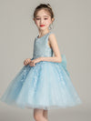 Tulle Knee Length Folower Girl Dresses Cg03388-Blue 3