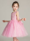 Tulle Knee Length Folower Girl Dresses Cg03388-Pink 2