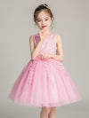 Tulle Knee Length Folower Girl Dresses Cg03388-Pink 3