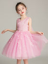Tulle Knee Length Folower Girl Dresses Cg03388-Pink 1