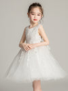 Tulle Knee Length Folower Girl Dresses Cg03388-White 3