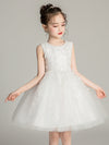 Tulle Knee Length Folower Girl Dresses Cg03388-White 1
