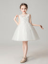 Sweet Applique Tulle Flower Girl Dresses Cg03396-White 1
