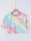 Women'S Sexy Open-Navel T-Shirt With Short Sleeves-Tie-Dye Pink-Blue  1