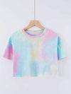 Women'S Sexy Open-Navel T-Shirt With Short Sleeves-Tie-Dye Sky Blue 1