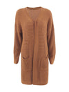 Gorgeous Solid Color Open Front Knitwears With Long Baggy Sleeves-Brown 3