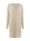 Gorgeous Solid Color Open Front Knitwears With Long Baggy Sleeves-Cream 3