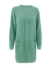 Gorgeous Solid Color Open Front Knitwears With Long Baggy Sleeves-Green 3