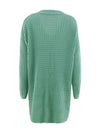 Gorgeous Solid Color Open Front Knitwears With Long Baggy Sleeves-Green 4
